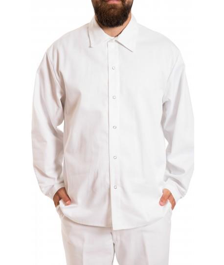 Long sleeve Cotton Shirt, no pockets, gripper closure