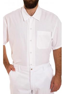 Chemise de cuisine à manches courtes, fermeture à boutons