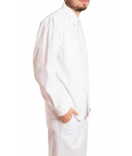 Long sleeve food shirt, button closure, gripper at collar