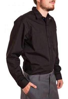 Long sleeve industrial shirt, button closure, gripper at collar